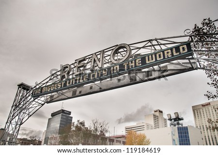 RENO - NOVEMBER 18: The original sign was built in 1926 to promote the Nevada Transcontinental Highway Exposition. The sign was last replaced in 1987 on Nov 18, 2012 in Reno - stock photo