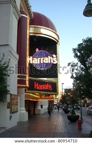RENO - SEPTEMBER 21 : Harrah's Hotel and Casino on famous Virginia Street on September 21, 2008 in Reno. Opened in 1937, the hotel has 950 rooms and the casino a 60,000 square foot gaming area. - stock photo