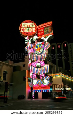 RENO, USA - AUGUST 12: Circus Circus hotel and casino sign at night on August 12, 2014 in Reno, USA.  Reno is the most populous Nevada city outside of the Las Vegas. - stock photo