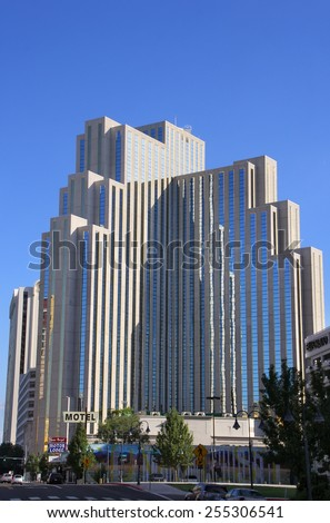 RENO, USA - AUGUST 12: Silver Legacy resort and casino on August 12, 2014 in Reno, USA.  Reno is the most populous Nevada city outside of the Las Vegas. - stock photo