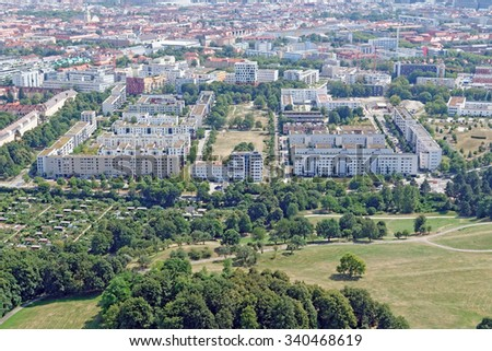 Renovated and new residential buildings in Munich, Germany - stock photo