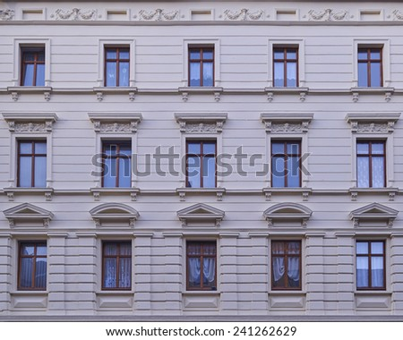 renovated old building facade, Altenburg, Germany - stock photo