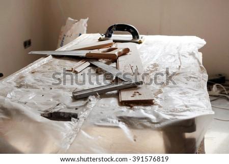 renovating tools , new house - stock photo