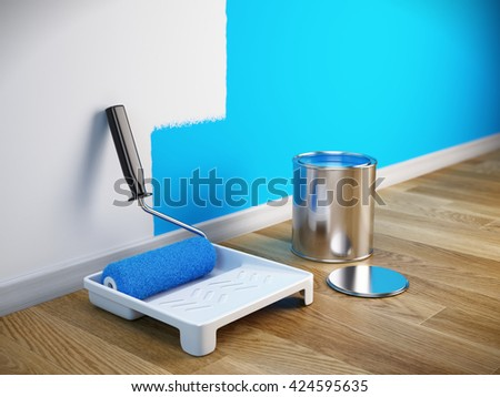 Renovation concept - Paint roller brush, paint can. 3d render - stock photo