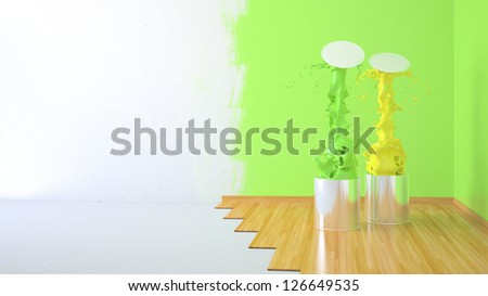 Renovation home. 3D illustration paint cans - stock photo