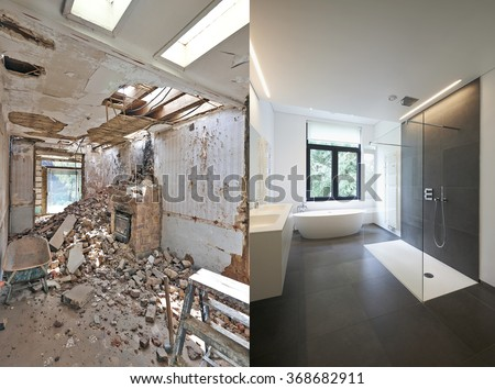 Renovation of a bathroom Before and after in horizontal format - stock photo