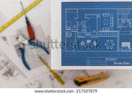 Renovation Plan - stock photo