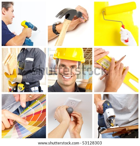 Renovation set. A man working at home - stock photo