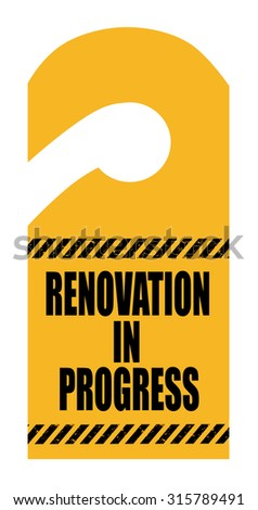 Renovation sign on hotel room card isolated - stock photo
