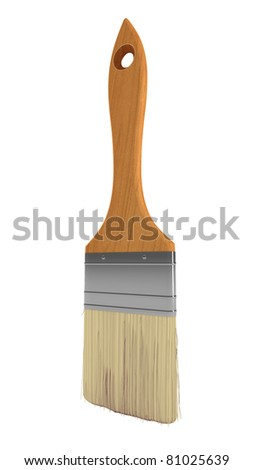 Renovation: wooden paintbrush isolated over white background