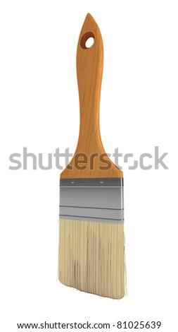 Renovation: wooden paintbrush isolated over white background - stock photo