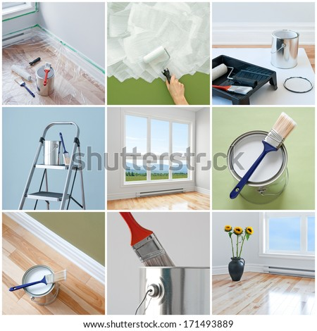 Renovations in a modern home. Collection of 9 images. - stock photo
