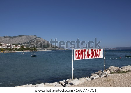 rent a boat flag - stock photo