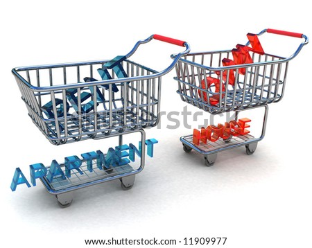 Rent apartment or own home in a basket from a supermarket - stock photo