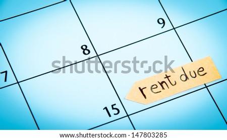 Rent due calendar - stock photo