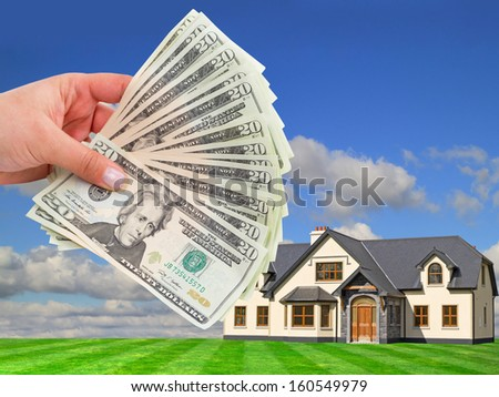 Rent payment in dollar banknotes - stock photo