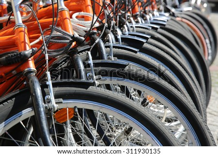 Rental Bikes in a row