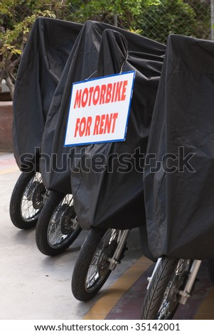 Renting out motorcycles with protective cover