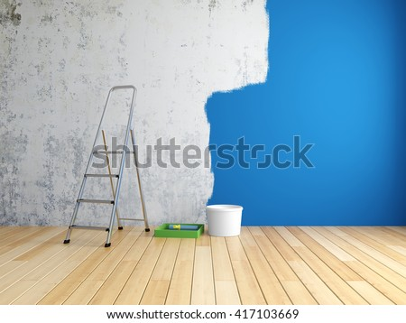 Repair and painting of walls in room. 3D illustration. - stock photo