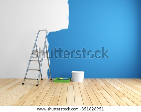 Repair and painting of walls in room. 3d rendering. - stock photo