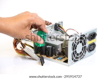 Repair Computer Power Supply On White Stock Photo 295914737 ...