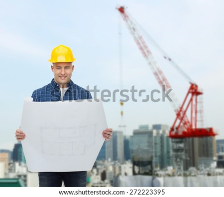 repair, construction, building, people and maintenance concept - smiling male builder or manual worker in helmet with blueprint over city construction site background