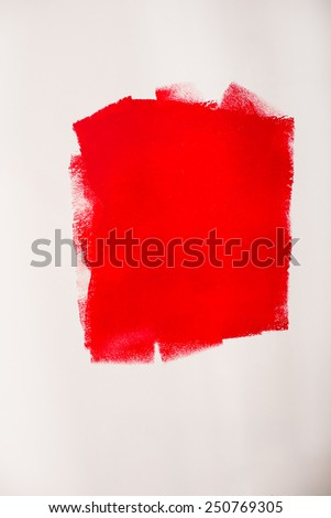 Repair home concept. Red spot on the wall. - stock photo