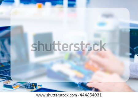 Repair motherboard in electronics laboratory. Technological background , Banner Blank Board Message Copy-space Concept - stock photo