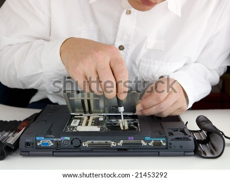 repair of a notebook - stock photo