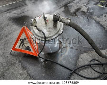 Repair of an urban wastewater sewage pipe - Denmark. - stock photo