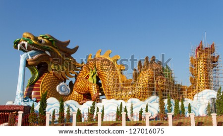 Repair of Giant golden Chinese dragon,Thailand