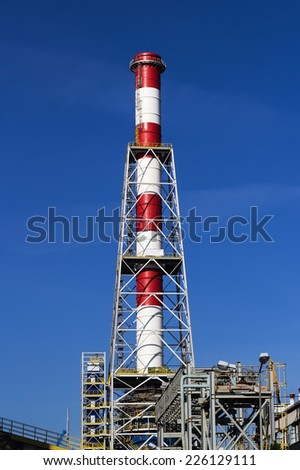 Repair of industrial chimney at the power plant - stock photo