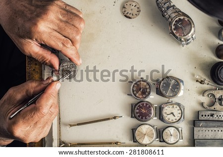 Repair of mechanical watches - stock photo