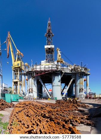 Repair of oil rig in the shipyard Gdansk, Poland. - stock photo