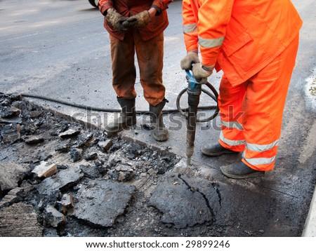 repair of roads - stock photo