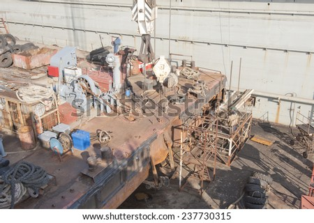 Repair of ships in dock, Vladivostok, Russia - stock photo