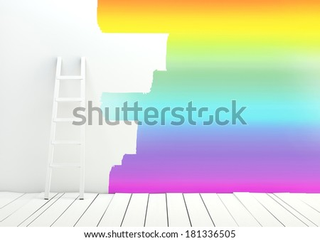 Repair, painting empty wall - stock photo