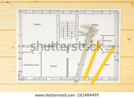 Repair planning. Repair work. Drawings for building and caliper. - stock photo