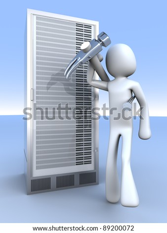 Repairing a Server tower. 3d rendered Illustration. - stock photo