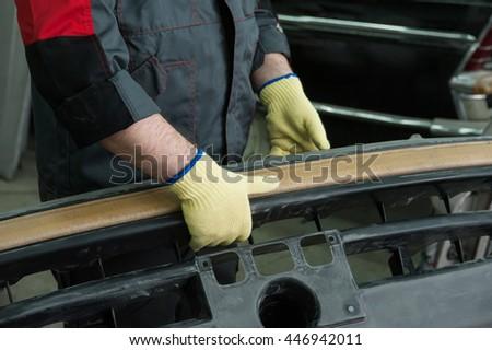 Repairing automotive body closeup photo - stock photo