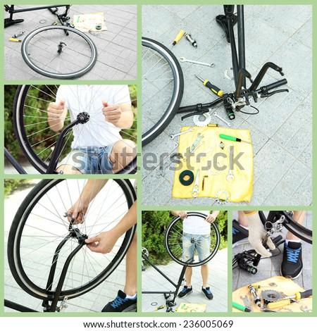 Repairing bicycle collage - stock photo