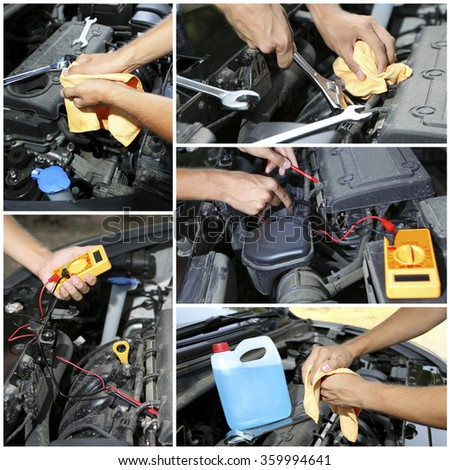 Repairing car in details, collage - stock photo