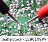 Repairing, Electronic circuit board close up - stock photo