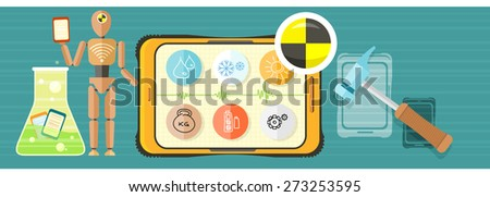 Repairing mobile phone concept. Crash test phones banner. Concept in flat design style. Can be used for web banners, marketing and promotional materials, presentation templates. Raster version - stock photo