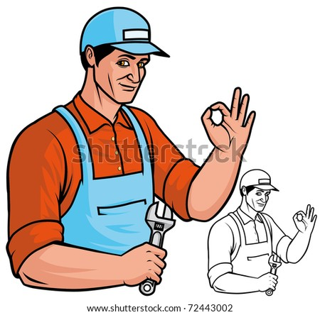 Repairman Color and black&white version - stock photo