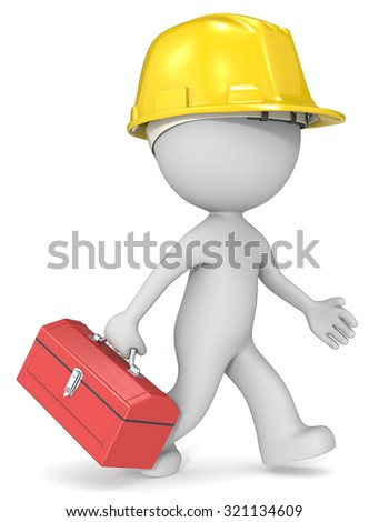 Repairman. Dude 3D character the builder with toolbox and hardhat. - stock photo