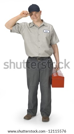 Repairman isolated on a white background with clipping path - stock photo