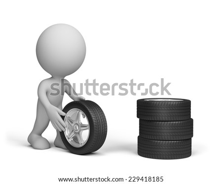 Repairman rolls the wheel from the car. 3d image. White background. - stock photo