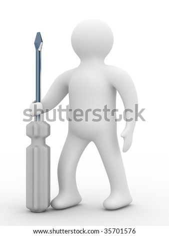 repairman with the tool on a white background. 3D image - stock photo