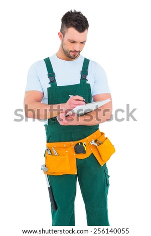 Repairman writing on a clipboard on white background